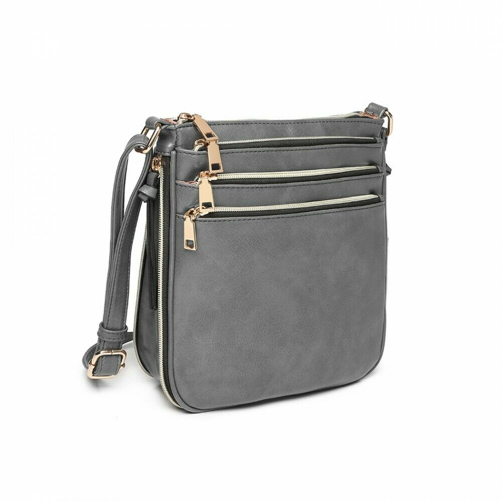 MISS LULU GREY SYNTHETIC LEATHER EXPANDING CROSS BODY SHOULDER BAG