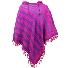 HIPPIE HOODED PONCHO SOFT FLEECE BLANKET FESTIVAL HOODIE - Pink