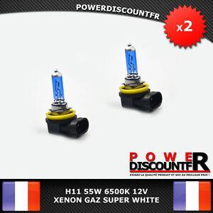 Kit-DE-2-Ampoule-Lampe-Halogene-Feu-Phare-XENON-SUPER-WHITE-H11-55W-6500K-12V