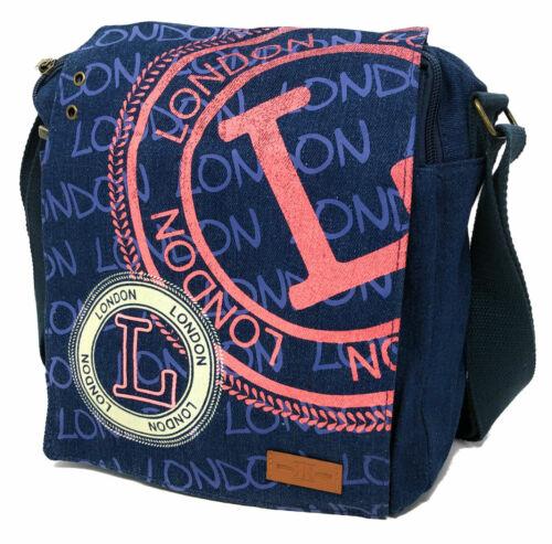 Robin Ruth London Stamp Blue Denim Messenger Bag