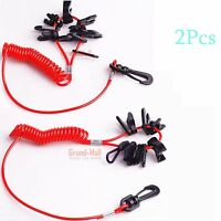 2x Boat Coiled 11 Key Safety Cut Off Kill Switch Lanyard Tether For Honda Yamaha