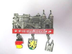 Heidelberg-Burg-Neckar-Metall-Charms-Magnet-3-Anhaenger-Souvenir-Germany