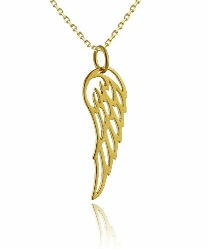 Angel Wing Necklace-Or 24K plaque argent sterling-foi Bijoux Charme Neuf *