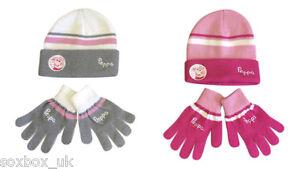 Boys-Girls-Knitted-Beanie-Hat-amp-Gloves-Peppa-Pig-Minnie-George-Cars-One-Size