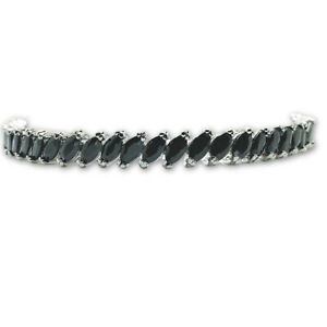 White gold finish Tennis Bracelet marquise cut black onyx  Dubai Shakira