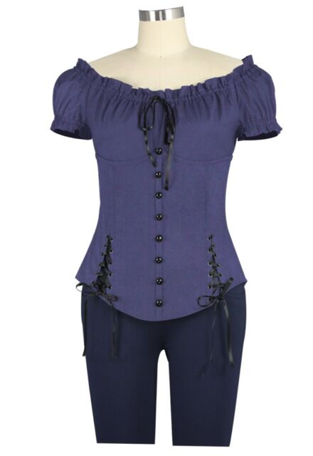 Ladies Medieval Renaissance Pirate Steampunk Top Blouse Shirt Theater Clothing
