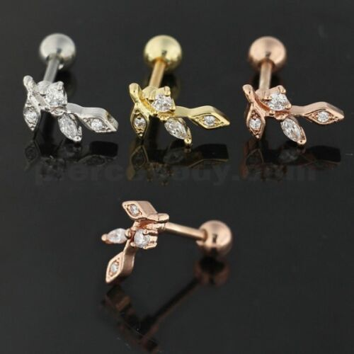 Acier Chirurgical Jeweled Floral Cartilage Helix Tragus Piercing Oreille Stud