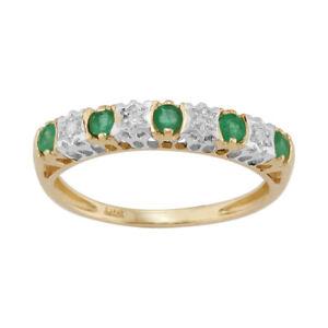 9ct-Yellow-Gold-0-27ct-Natural-Emerald-amp-2pt-Diamond-Half-Eternity-Band-Ring