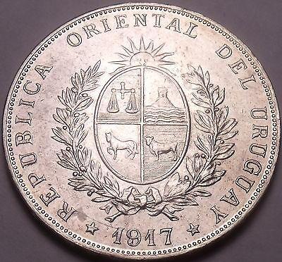 Massive Rare Silver Oriental Uruguay 1917 Peso~Fantastic~Free Shipping