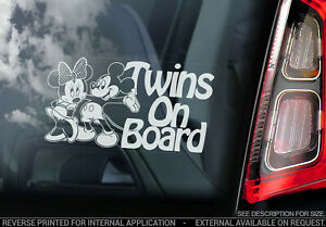 Car Window Sticker Twins on Board Brother Sister Child Cartoon Decal Sign V03