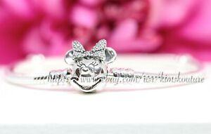 Details about Authentic Pandora Disney Shimmering Minnie Portrait Silver  Bracelet 597770CZ