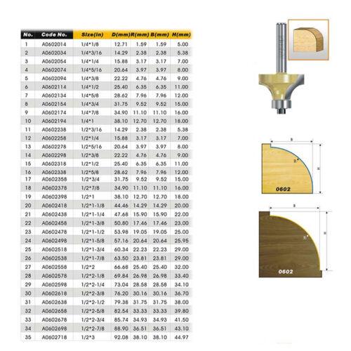 """ARDEN Round Over Router Bit 1//4*3//4-1//4 Shank Corner Round Cutter 3//4/""""×1//4 Bit"""