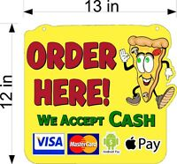 Order Here Sign Pizza Man With Payment Options Hanging Plexiglass For Counter