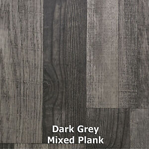 Image Is Loading Dark Grey Mixed Plank Wood Style Vinyl Flooring