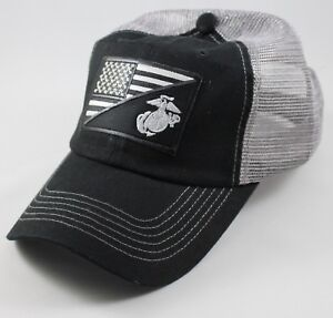 USMC United States Marine Corps - EGA-US Flag Patch Mesh Hat Black & Charcoal