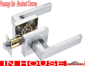 Door-handles-Passage-set-Satin-chrome-finished