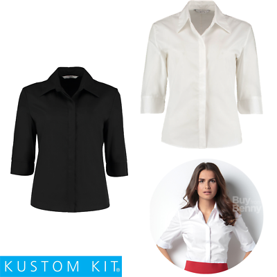 Aggressiv Kustom Kit Ladies Blouse Smart Work Shirt 3/4 Sleeve Stand Up Collar Ladies 8-22 GüNstige VerkäUfe