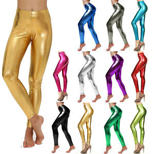 Ladies Metallic Neon Shiny Glossy Leggings Skinny Fitted Dance Vinyl Pants