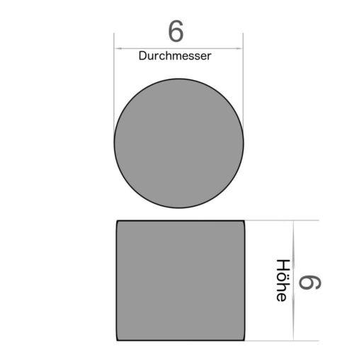 10er Set Scheibenmagnet Durchmesser 6x6 mm Neodym vernickelt Supermagnet N45