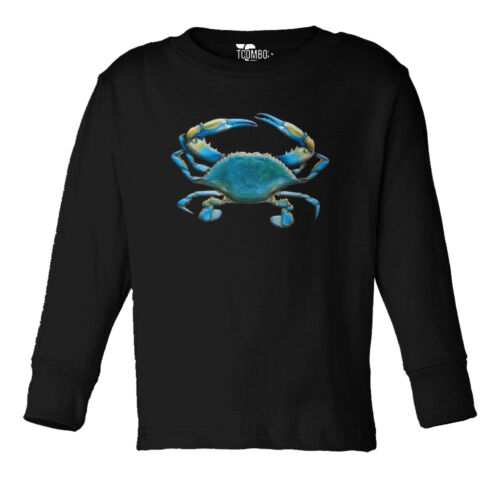Shell Fish Toddler Long Sleeve T-shirt Blue Crab Sea Creatures