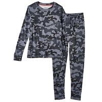 Cuddl Duds Climatesmart Boys Gray Camo Set Long Sleeve Top Pants Size Xl 16/18
