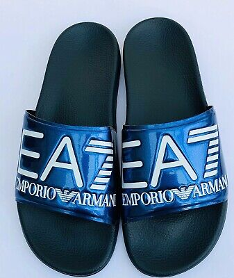 Emporio Armani Ea7 Surf & Navy Sliders Sandals Shoes Sizes Uk 6 - 11 Bnib