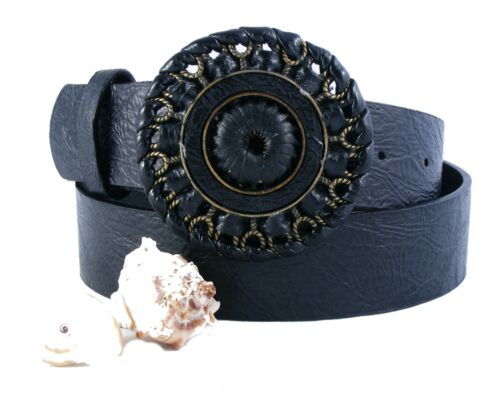 Gothicgürtel Trachtengürtel  Damengürtel schwarz antrazit große Schnalle SCH24D