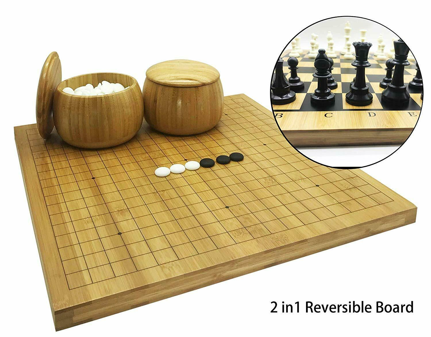 Bamboo Go Set with Reversible Game Board Bowls Stones Brand NEW