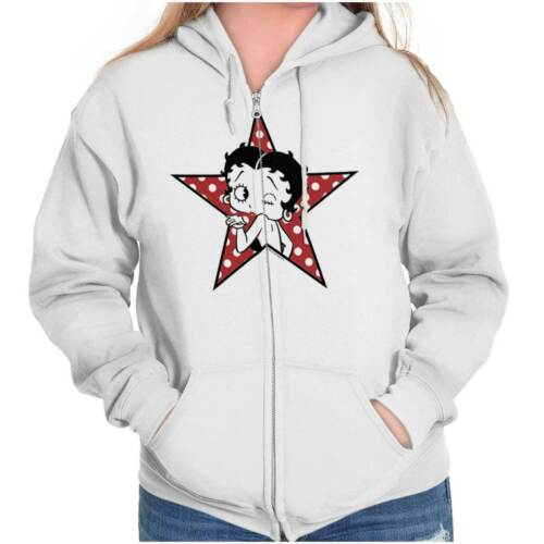 Vintage Betty Boop Superstar Blowing Kisses Womens Zipper Hoodies Sweat Shirts