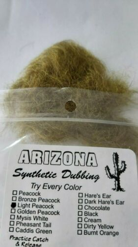 """Arizona Synthetic   /""""  LIGHT PEACOCK   /"""" Fly Tying Dubbing for Nymphs and Dry"""