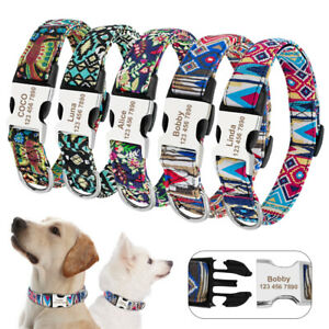 Floral-Print-Dog-Collar-Custom-Personalised-Pet-ID-Tag-Name-amp-Phone-Adjustable