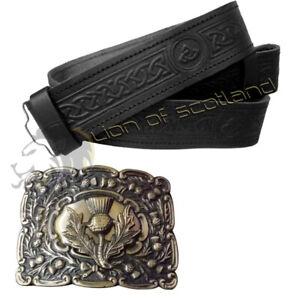 MotivéE Scottish Kilt Boucle Chardon Crest Antique Celtique En Relief Ceinture En Cuir Noir-afficher Le Titre D'origine