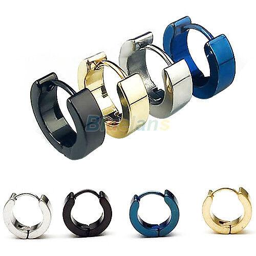 Mens 1 Pair Stainless Steel Hoop Earring Studs Jewelry Black Blue Golden Silver