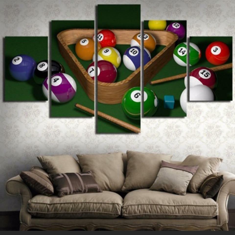 Billiards & Ball 5 panel canvas Wand Kunst Home Decor Poster Drucken