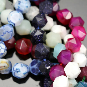 10mm-Faceted-Nugget-Star-Cut-Semi-precious-Gemstone-Beads-for-Jewellery-Making
