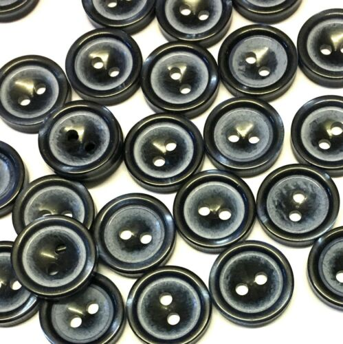 con Dos Agujeros de Resina 10 X 15mm azul marino botones efecto a rayas