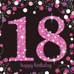 18 Geburtstag Party Servietten Schwarz Rosa Endlich 18 Feier