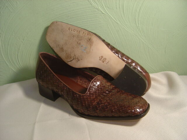 Women's ANTONIO MELANI Brown Braided Leather Heels Size 7.5N