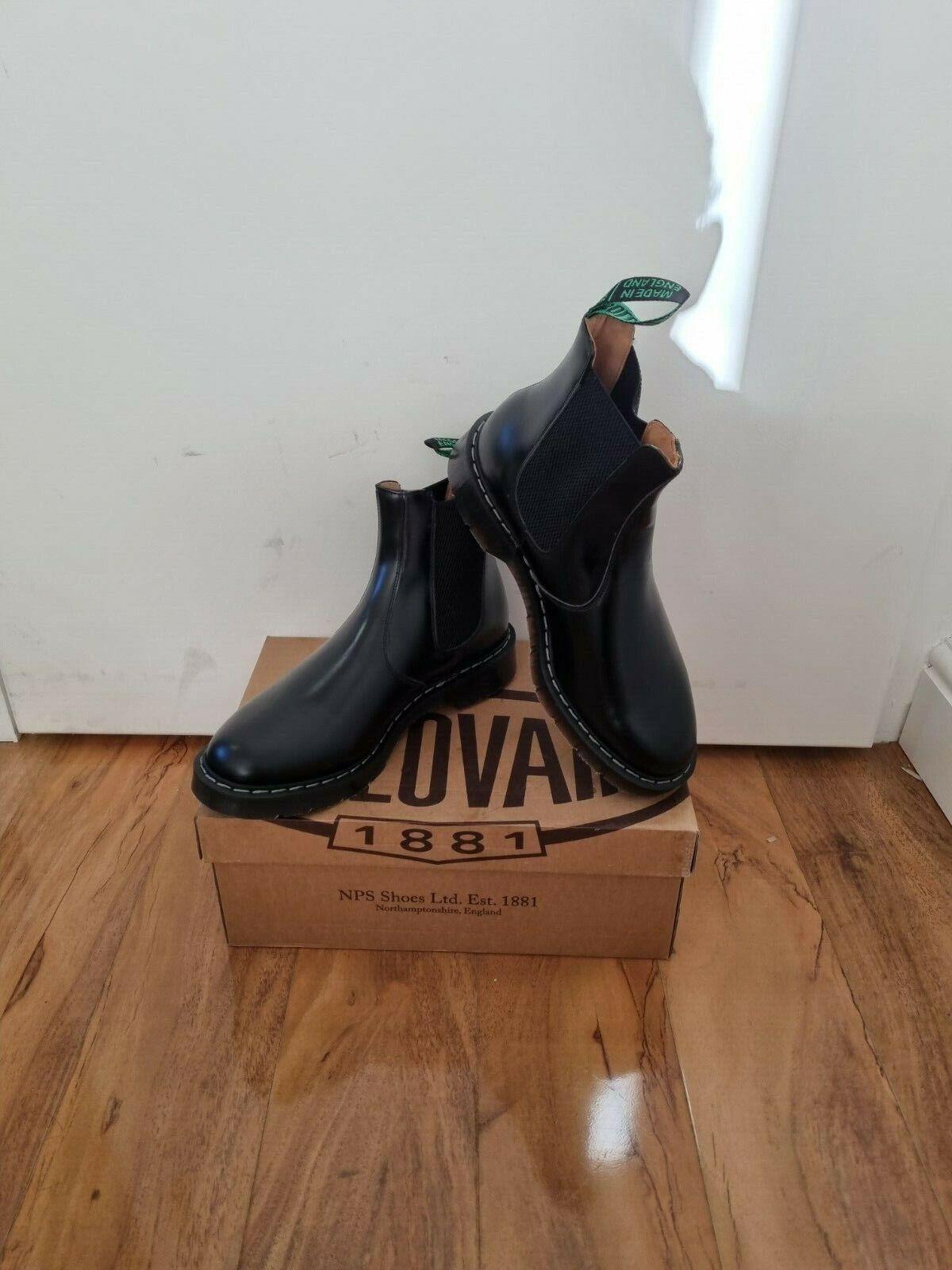 NPS SOLOVAIR Black Shiny Leather Dealer Chelsea Boot Size 71/2