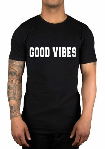 Good Vibes Slogan T-Shirt Dope Hipster Swag Fashion Cool Disobey Tumblr Snap