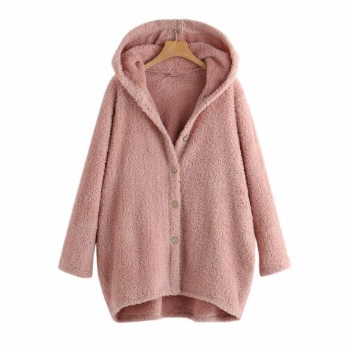 UK Women Floral Winter Coat Hoodies Jacket Winter Warm Outwear Parka Plus Sizes