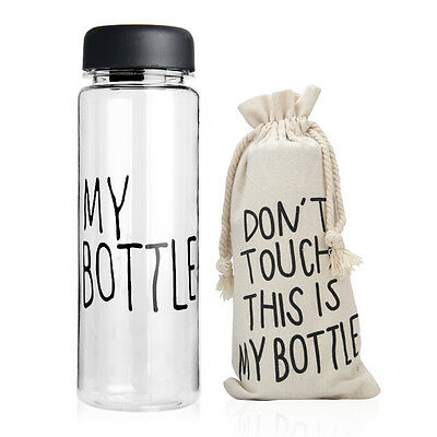Portable Clear My Bottle Sport Plastic Fruit Juice Water Cup 500ML Canvas Bag