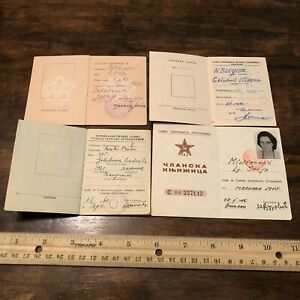 4-RARE-Yugoslavian-ID-Books-USSR-Soviet-Union-Idenification-Card-Photo-Old-ID