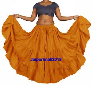 YELLOW Cotton Tribal Fusion Gypsy 25 Yard 4 Tier Skirt Belly Dancing Flamenco