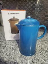 """/""""Turquoise/"""" LE CREUSET 27 Oz Large French Coffee Press NWT Stoneware Solid Teal"""