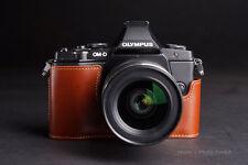 Handmade Genunie Real Leather Half Camera Case bag for Olympus OM-D E-M5 EM5