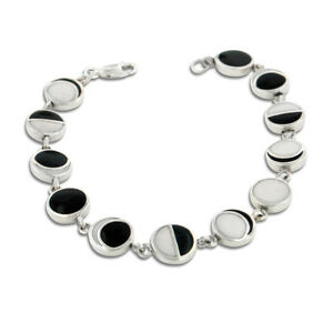 moon phases bracelet lunar phases of the moon enameled inlay sterling silver 7 8997