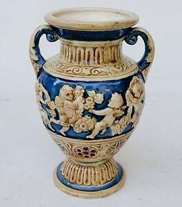 Vtg Art Pottery Japan Relief Double Handle Vase Urn Japan