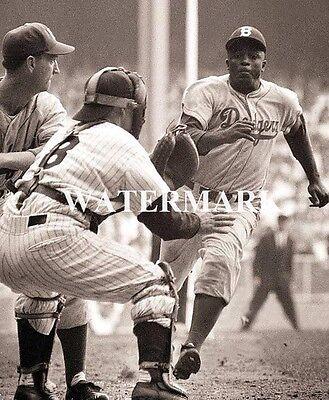 Jackie Robinson Slides Home Safe Yogi Berra 8x10 Photo Brooklyn Dodgers Baseball