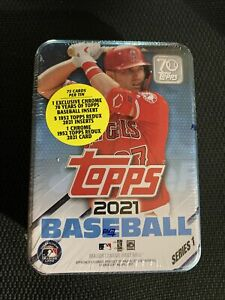 Topps 2021 Series 1 MLB Baseball 75 Trading Card Collector's Tin, Mike Trout